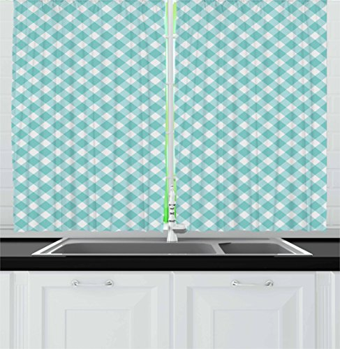 Ambesonne Aqua Kitchen Curtains, Retro Vintage Gingham Pop Art Style Lovers Spring Summer Inspired Artwork, Window Drapes 2 Panel Set for Kitchen Cafe, 55 W X 39 L inches, Turquoise -