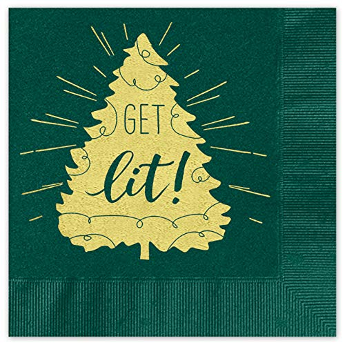 Get Lit Coined Cocktail Napkins - Package of 25, Green Napkin with Gold Metallic Foil. 4 3/4 x 4 3/4 folded. Made in the USA