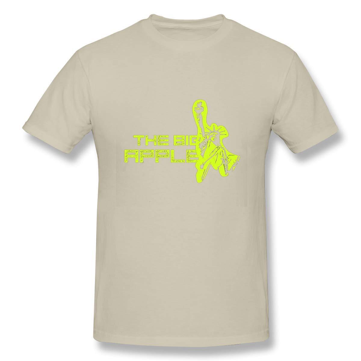 Mens Short-Sleeve Crew Neck Cotton Stretch T-Shirt Big Apple wear Design p Sand Color4X-Large
