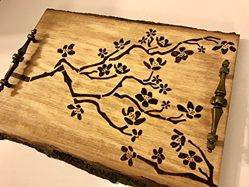 Exquisite Rustic Handmade And Handcrafted Decorative Wood Tray With Woodburned Cherry Blossom Motif - Perfect For Weddings, Home, Or Office (Motiv Glass Tray)