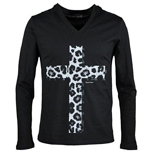 させる重量訴える(ブラックバリア) BLACK VARIA Tシャツ クロス 十字架 ヒョウ柄 豹柄 アニマル柄 Vネック 長袖 メンズ ブラック zkk029ls