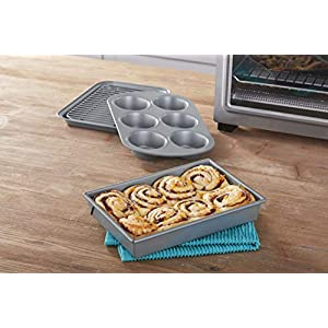 Chicago Metallic Non-Stick Toaster Oven Bakeware Set, 4-Piece, Carbon Steel