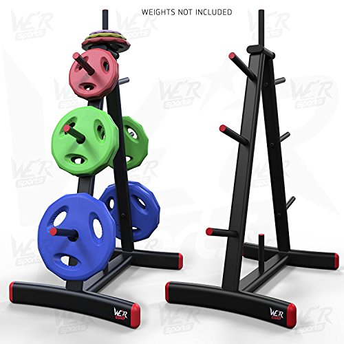 "We R Sports Standard Weight Plate Tree Rack Stand Storage For 1"" Plates Discs 8 Storage Spcaes"