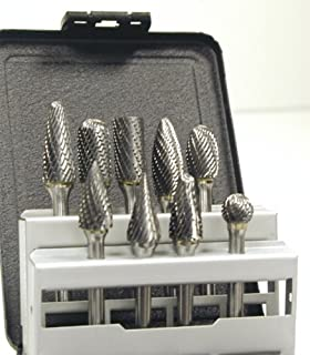 """product image for Triumph Twist Drill 071485 BUR14 9 Piece Solid Carbide Bur Set with 1/4"""" Cut and 1/4"""" Shank"""