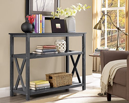 Weathered Grey 3-Tier Occasional Console Sofa Table Bookshelf (Console Table Grey)