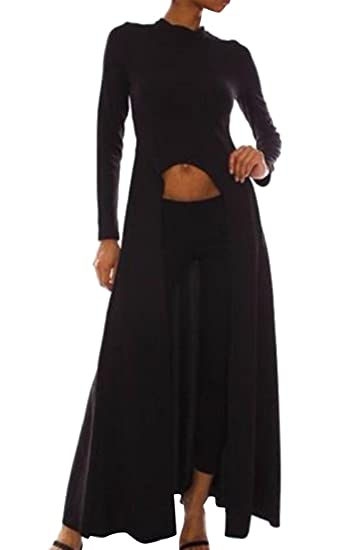 44ea26b568 XTX Womens Round Neck Long Sleeve Open Front Slit Maxi Dress Solid Tunic  Tops Black US