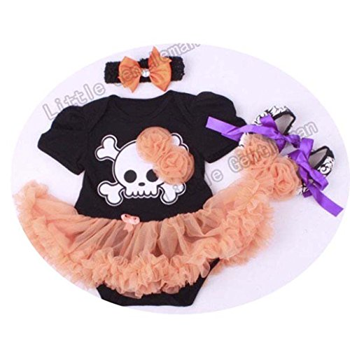 Halloween Pumpkin Romper Dress Jumpersuit+Headband+Shoes 3pcs Suit Bebe Infant Festival Costumes
