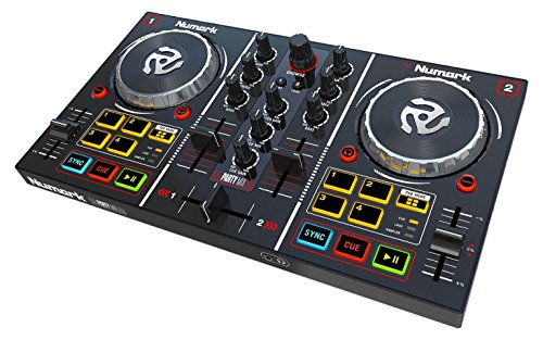 Numark Party Mix | Starter DJ Controller with Built-In Sound Card & Light Show, and Virtual DJ LE Software (Mix Master Headphones)