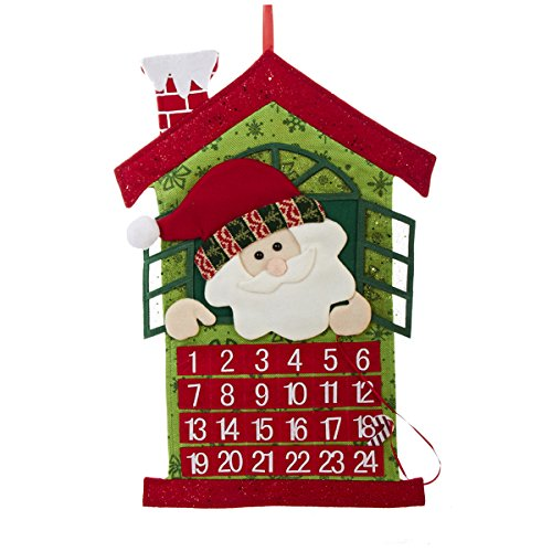 Santa Coming Out of a Window Fabric Christmas Countdown Advent Calendar