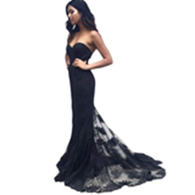Special Bridal Simple Cariño Escote De Encaje Negro Sirena Vestido De Noche Largo De Dama De