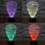 Lmeison 3D Illusion Joker Night Light with USB Cable, 7 Color Change Decor Lamp for Kids