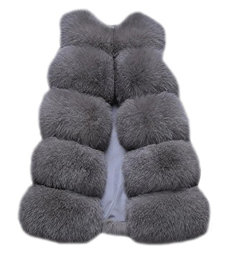 Gilet Gilet Faux Long Veste Fur Femmes Chaud Light Sans Grey Slim Manche Vest Vtement C8xtvqw