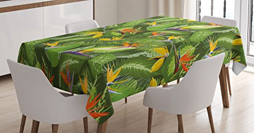 Ambesonne Leaf Tablecloth, Fresh Brazilian Forest Untouched Jungle Paradise Tropical Foliage Flowers, Dining Room Kitchen Rectangular Table Cover, 60 W X 84 L inches, Green Yellow Orange