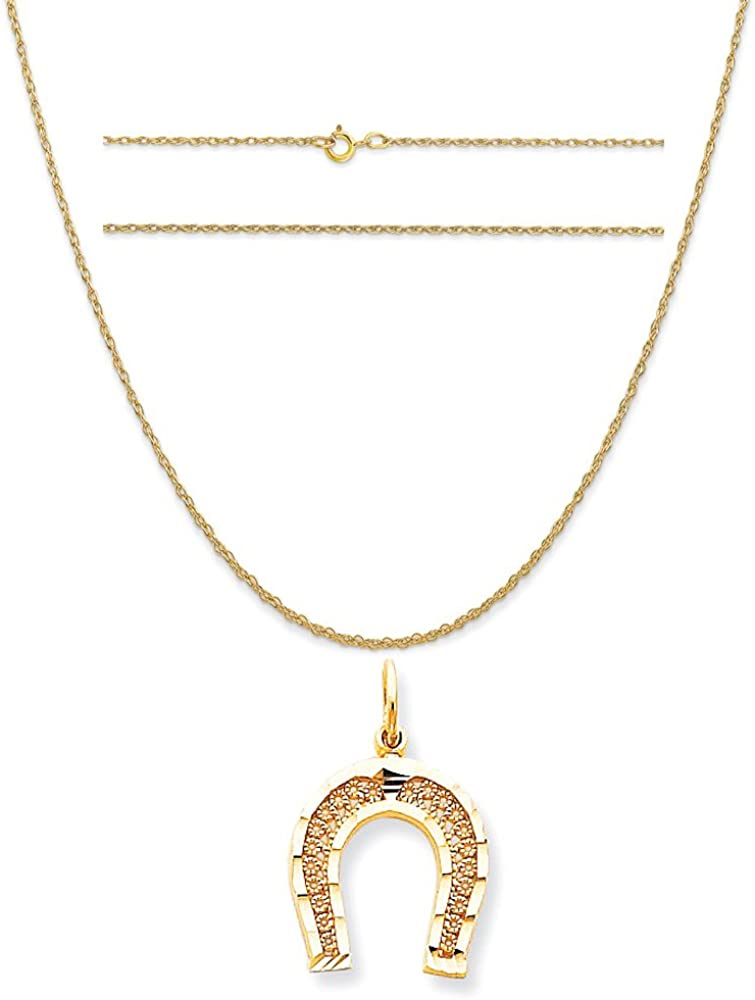 K/&C 10k Yellow Gold Horseshoe Charm on a 14K Yellow Gold Carded Rope Chain Necklace