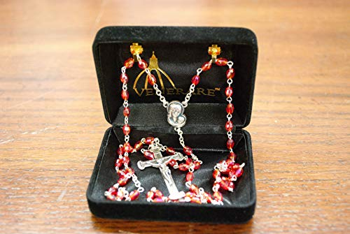 Ruby Crystal Rosary with Madonna and Child Center …