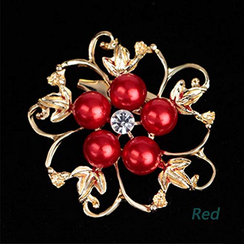 1Pc Fashion Women Brooches Pearls Crystal Wedding Brooch Pin Jewelry 9 Colors (Color - Red) -