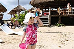 Toddler Sun Hat with Chin Strap, Drawstring Adjust Head Size, Breathable 50+ UPF (M: 6m - 3Y, White eyelet )
