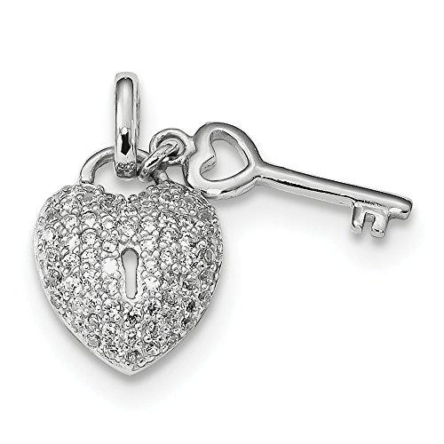 - 925 Sterling Silver Rhodium Plated Cubic Zirconia Heart Lock Key Pendant