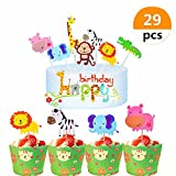 (29 Pieces) Sakolla Zoo Animals Birthday Cake topper Set Animals Cupcake Toppers Picks and Animals Cupcake Wrapper for Baby Shower Child Birthday Party Supplies cake decorations
