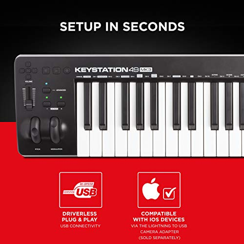M-Audio Keystation 49 MK3 | Compact Semi Weighted 49 Key MIDI Keyboard Controller with Assignable Controls, Pitch…
