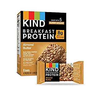 KIND Breakfast Protein Bars, Almond Butter, Gluten Free, 1.76oz, 32 Count