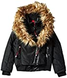 CANADA WEATHER GEAR Girls' Big Outerwear Jacket (More Styles Available), Hooded Bomber-CW050-Black, 7/8