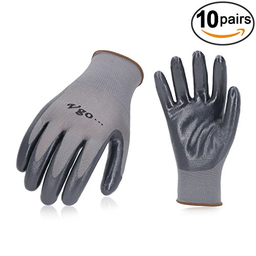 Vgo Nitrile Coating Gardening and Work Gloves (10 Pairs,Size L,Grey, (Nitrile Gardening Gloves)
