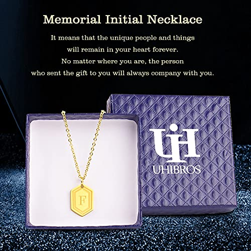 UHIBROSNecklaces for Women, 14K Gold Plated Hexagon Initial Necklaces, Dainty Personalized Alphabet Letter Choker with Adjustable Chain Pendant, Jewelry Gift for Women, Girls or Men-F