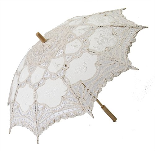 Victorian Parasols, Umbrella | Lace Parosol History Gaobei Victorian style Romantic Lace Umbrella Parasol for Decoration Wedding Costume Accessory Bridal Photograph Size: 26 * 30