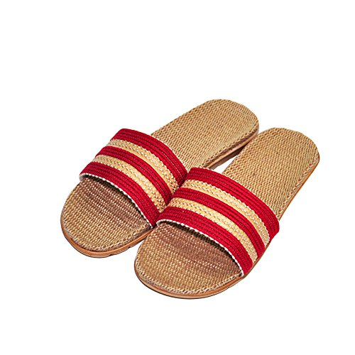 Indoor Men Slippers Red Open Slipper Silent Women HRFEER Flax Sandals Home Linen Toe Shoes Unisex qYRw7nx6Fv