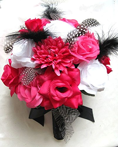 Amazon wedding bouquet bridal silk flowers hot pink fuchsia wedding bouquet bridal silk flowers hot pink fuchsia black white feathers 17 pc package artificial bouquets mightylinksfo