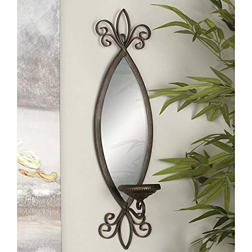 Wall Mounted Bronze Mirror Candle Sconce Brown Traditional Glass Iron