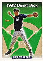 """Derek Jeter 1993 Topps Baseball Mint Rookie Card #98 """"1992 Draft Pick"""" in Protective Display Case. Great shot of Jeter in his rookie year. Future Hall of Famer will make an excellent addition to your collection or gift for any sports fan!"""
