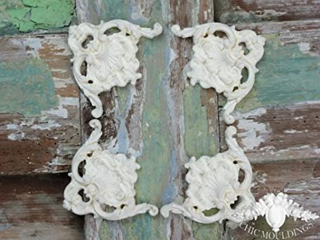 Shabby chic modanatura applique ornate set di 4 grandi angoli
