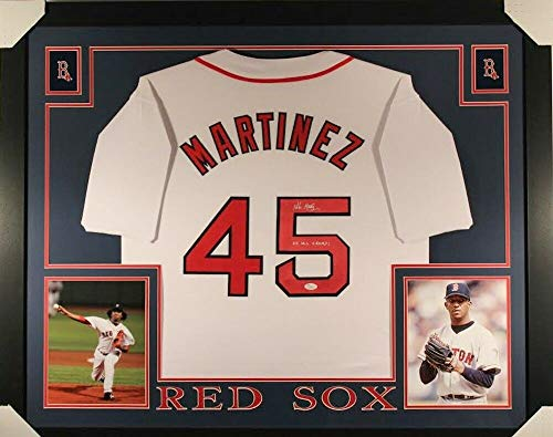 Pedro Martinez Autographed Signed Memorabilia Red Sox 35X43 Custom Framed Jersey Inscribed 04 Ws Champs - Certified Authentic