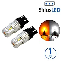 SiriusLED Ultra Compact Extremely Bright 2835 Chip Full Aluminum Dual Color White Yellow Switchback LED Fog DRL Turn Signal Tail Light Bulb Size 7443 7442NA Pack of 2