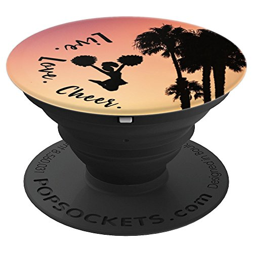 Live Love Cheer, Cheerleading Gifts Cheerleader Palm Trees - PopSockets Grip and Stand for Phones and Tablets
