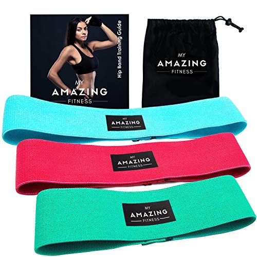 My Amazing Fitness Booty Resistance Bands - Thick and Elastic Fabric Loop Exercise Band for Glute Workout - Perfect for Women Toning Hip Legs and Butt - Use for Stretching Squats and Gym - Set of 3