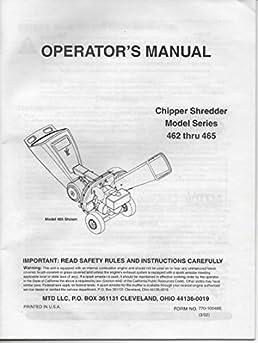 operator s manual for mtd chipper shredder model series 462 463 rh amazon com