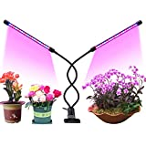 [Upgraded] Timing Function Grow Light with 40 LED Dual Head with 9 Dimmable Levels Grow Lamp Bulbs Adjustable 360 Degree Gooseneck for Indoor Plants Hydroponics Greenhouse Gardening