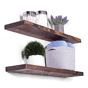 "DAKODA LOVE Rugged Distressed Deep Floating Shelves, USA Handmade, Clear Coat Finish, 100% Countersunk Hidden Floating Shelf Brackets, Beautiful Grain Rustic Pine Wood (Set of 2) (36"", Bourbon)"