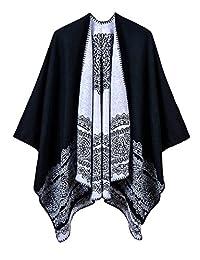 Women's Vintage Pattern Printed Winter Poncho Cape Shawl (Series 1-Black)