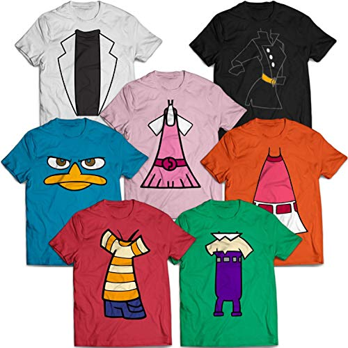 Perry Agent P Costume Halloween Matching Group Friends Outfit Costume Customized Handmade T-Shirt Hoodie_Long Sleeve_Tank Top_Sweatshirt