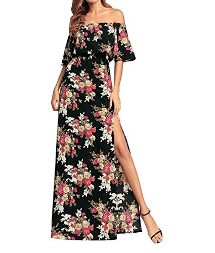 Split Off Floral Maxi Taille S Couleur XIAOXAIO Dress Womens Noir paule ptdEwpq