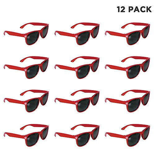 12 Pack Red Retro Sunglasses Bulk for Kids Adults Party Favors for $<!--$14.99-->