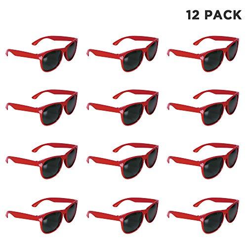 12 Pack Red Retro Sunglasses Bulk for Kids