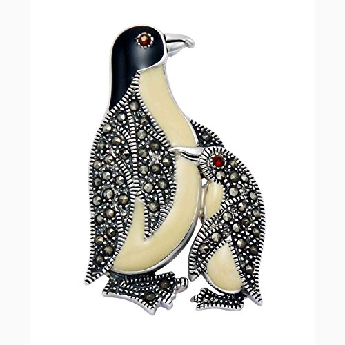 Sterling Silver Penguin & Chick Penguin Pin w/Marcasite Stones, Red Crystal Eye & Enamel Accents by Wild Things