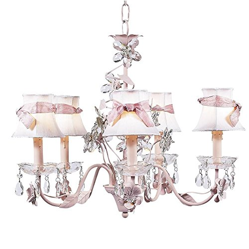 Jubilee Collection 7306-2408-305 5 Arm Crystal Flower Pink Chandelier with Plain White Shade and Sash Jubilee Lighting 5 Arm