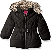 Pink Platinum Little Girls' Toddler Quilted Puffer Jacket with Cheetah Lining, Black, 2T