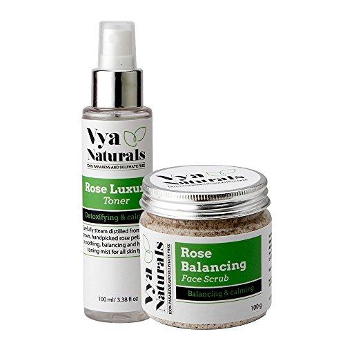 Vya Naturals Radiant Skin Duo Bundle with Vya Naturals Rose Facial Scrub - With Real Rose Petals and Vya Naturals Rose Water Facial Toner- 100% Natural Rose Water Mist